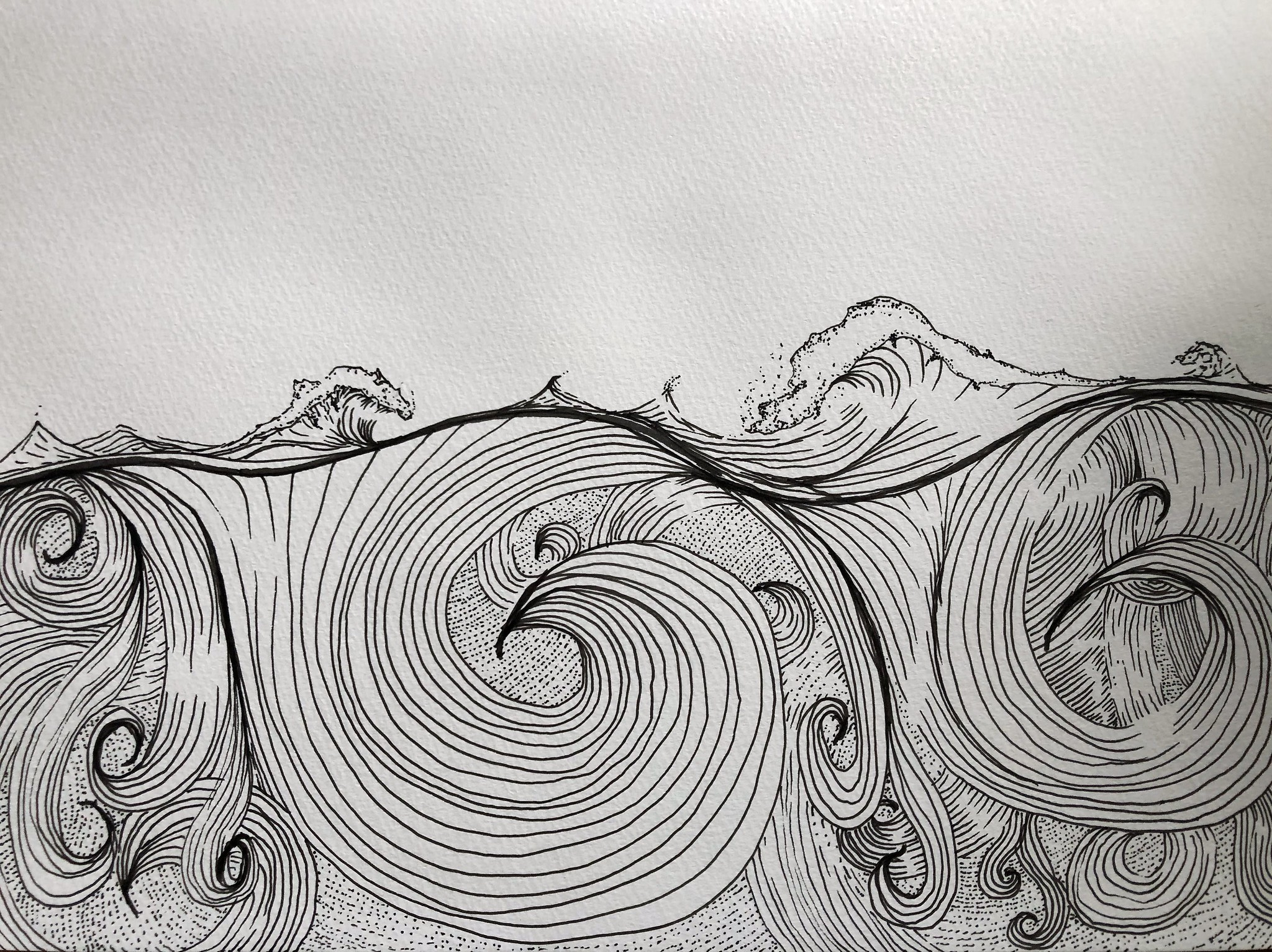 line drawing of waves
