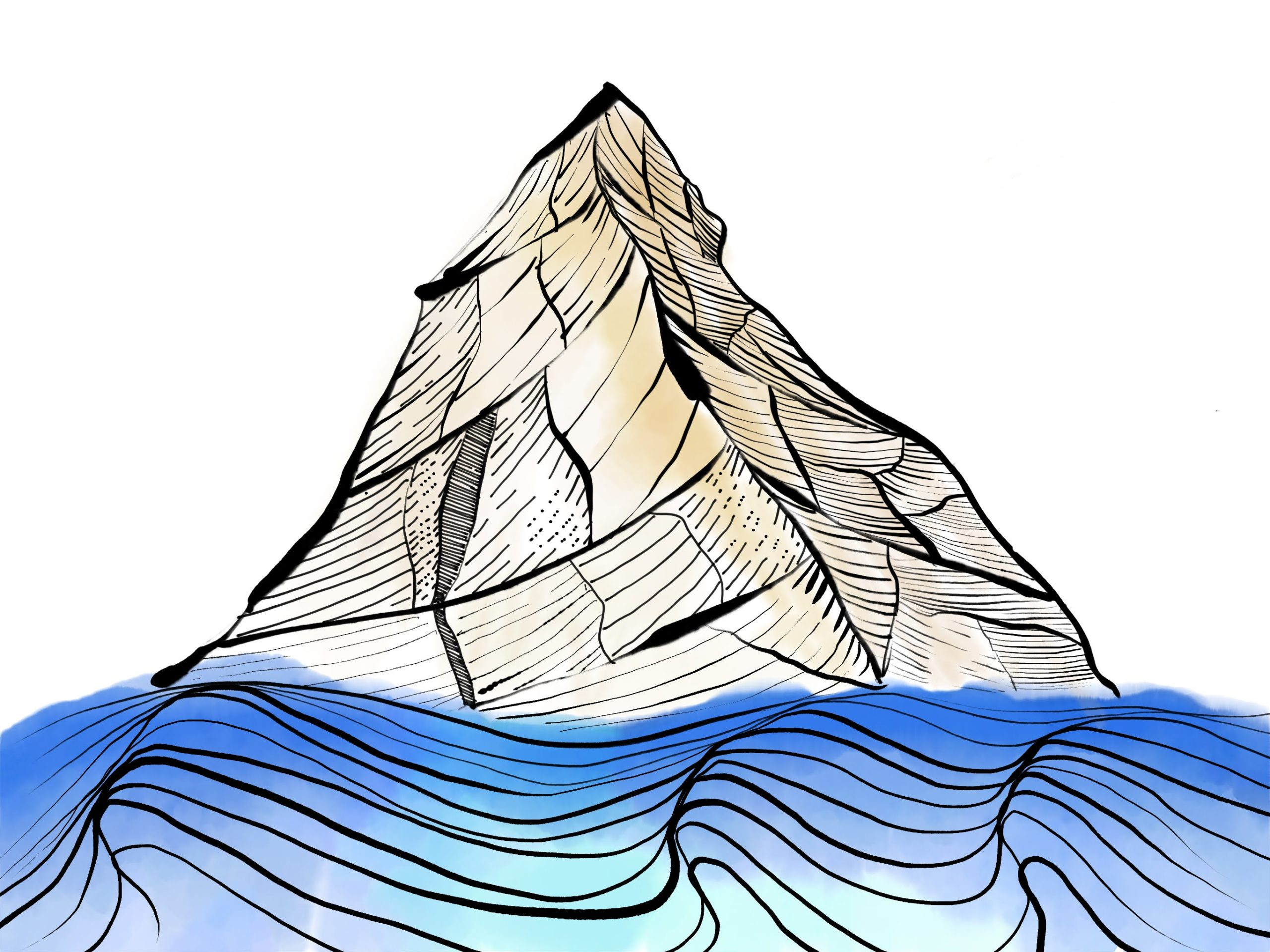 digitally painted mountains and waves