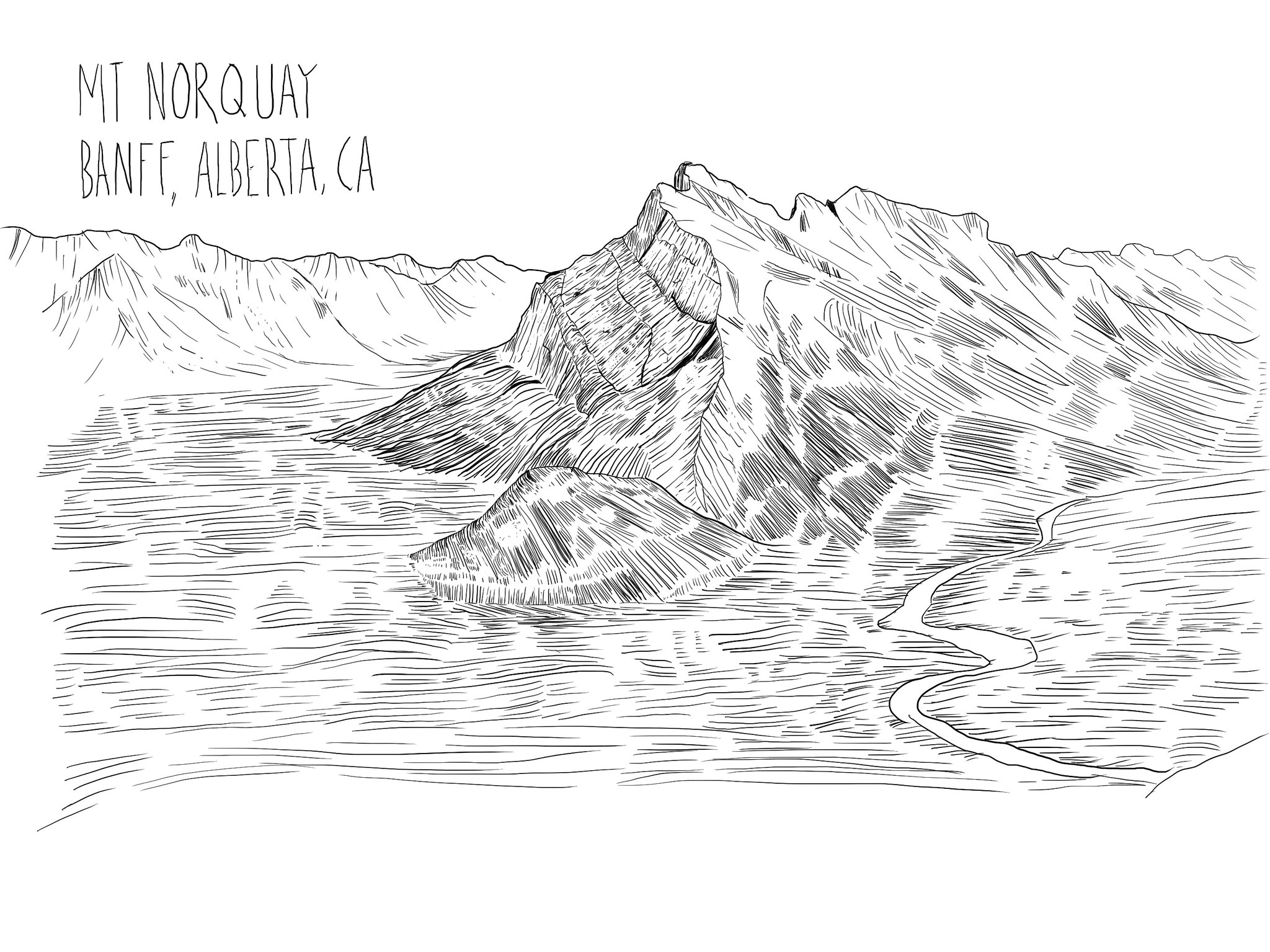 digital drawing of canadian mountain mt norquay