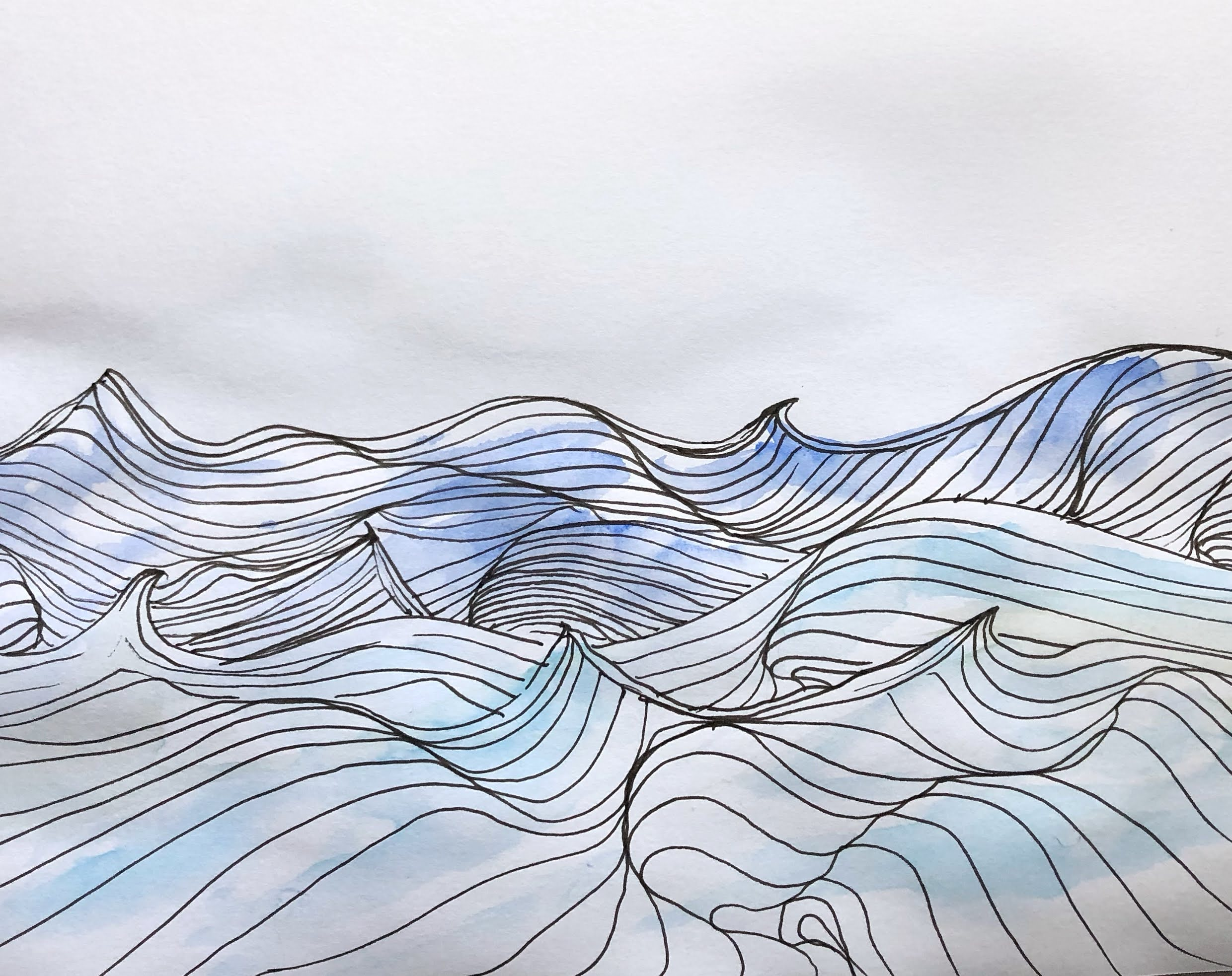 hand drawn waves with paint