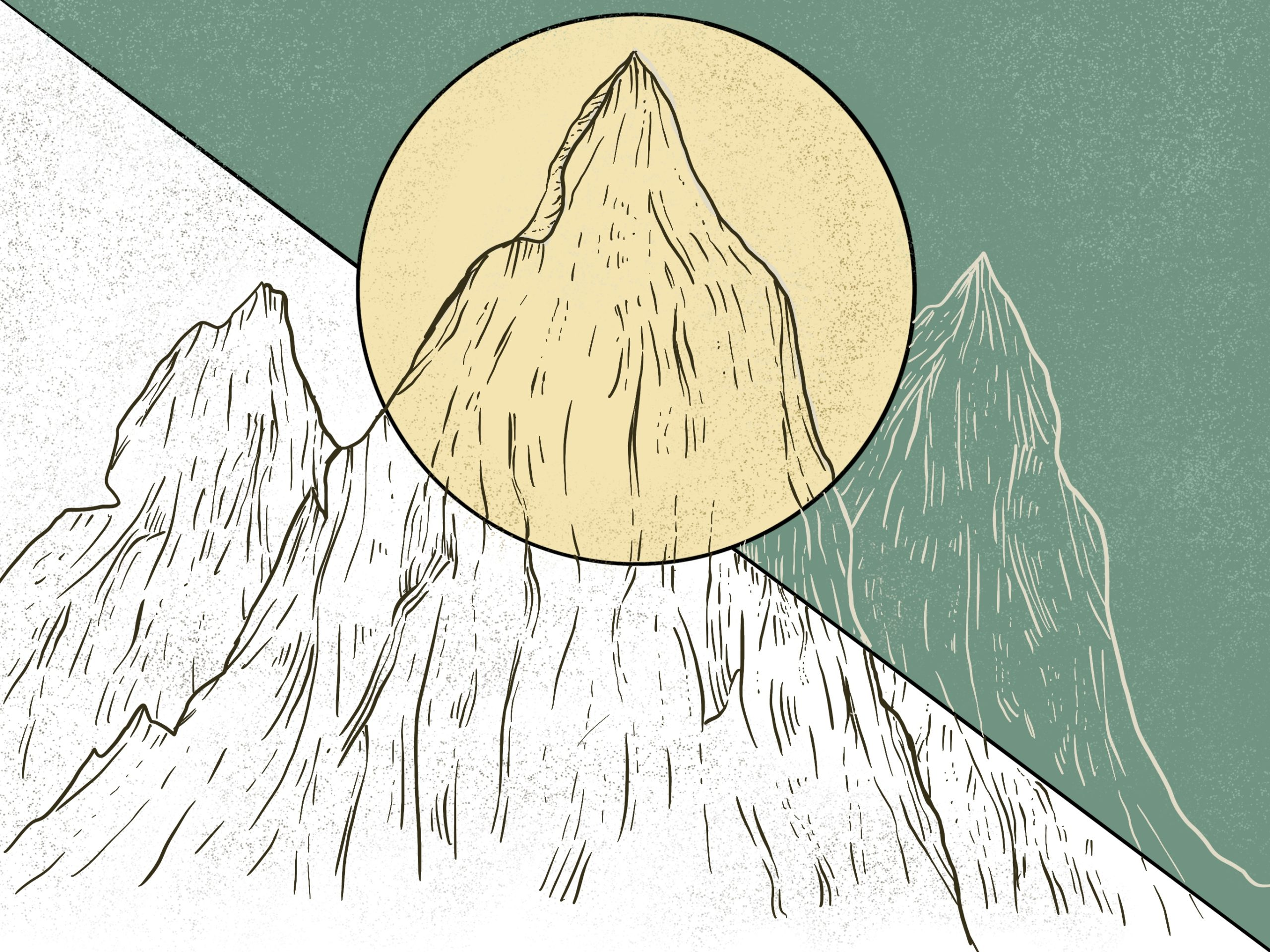 digital mountain drawing with a circle overlap