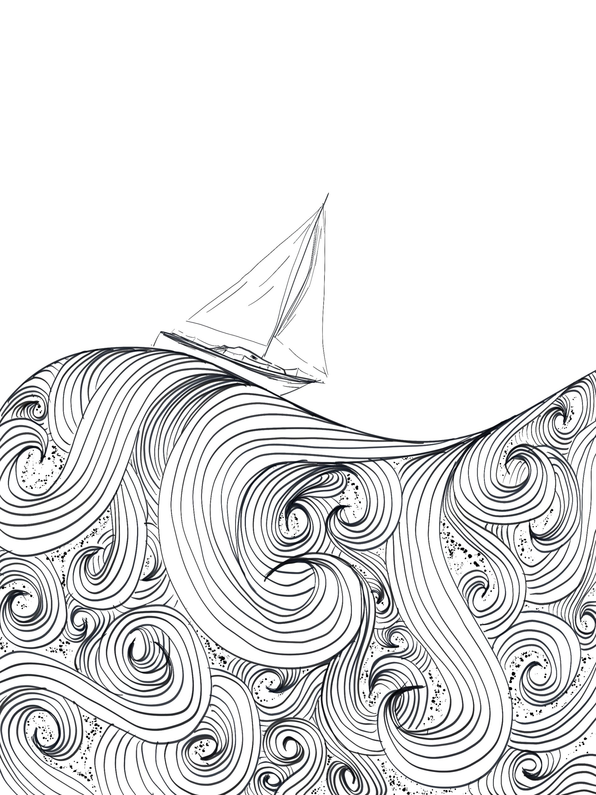 sailboat on swirling waves