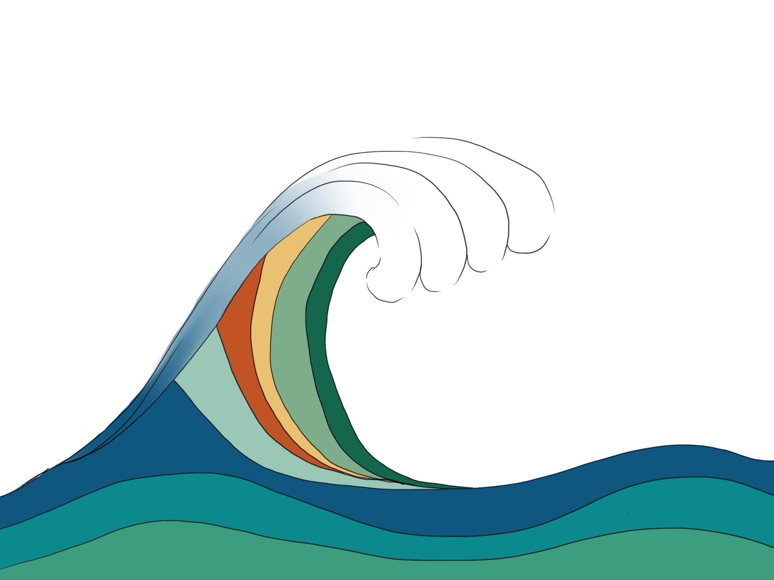 rounded wave with different colors