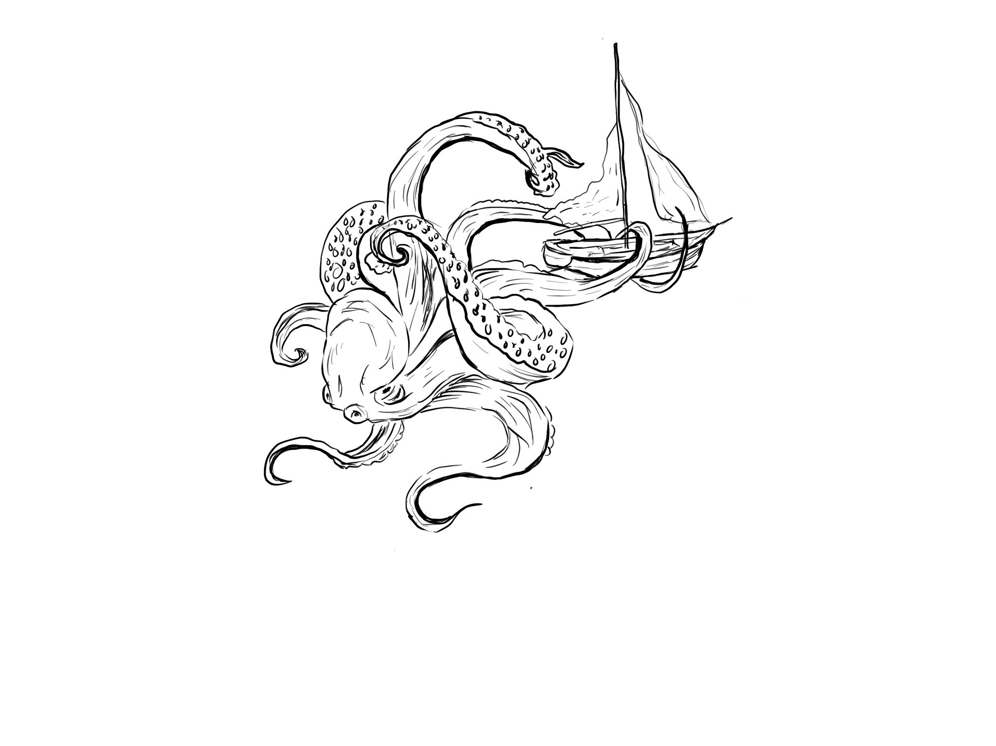 hand drawn octopus and boat