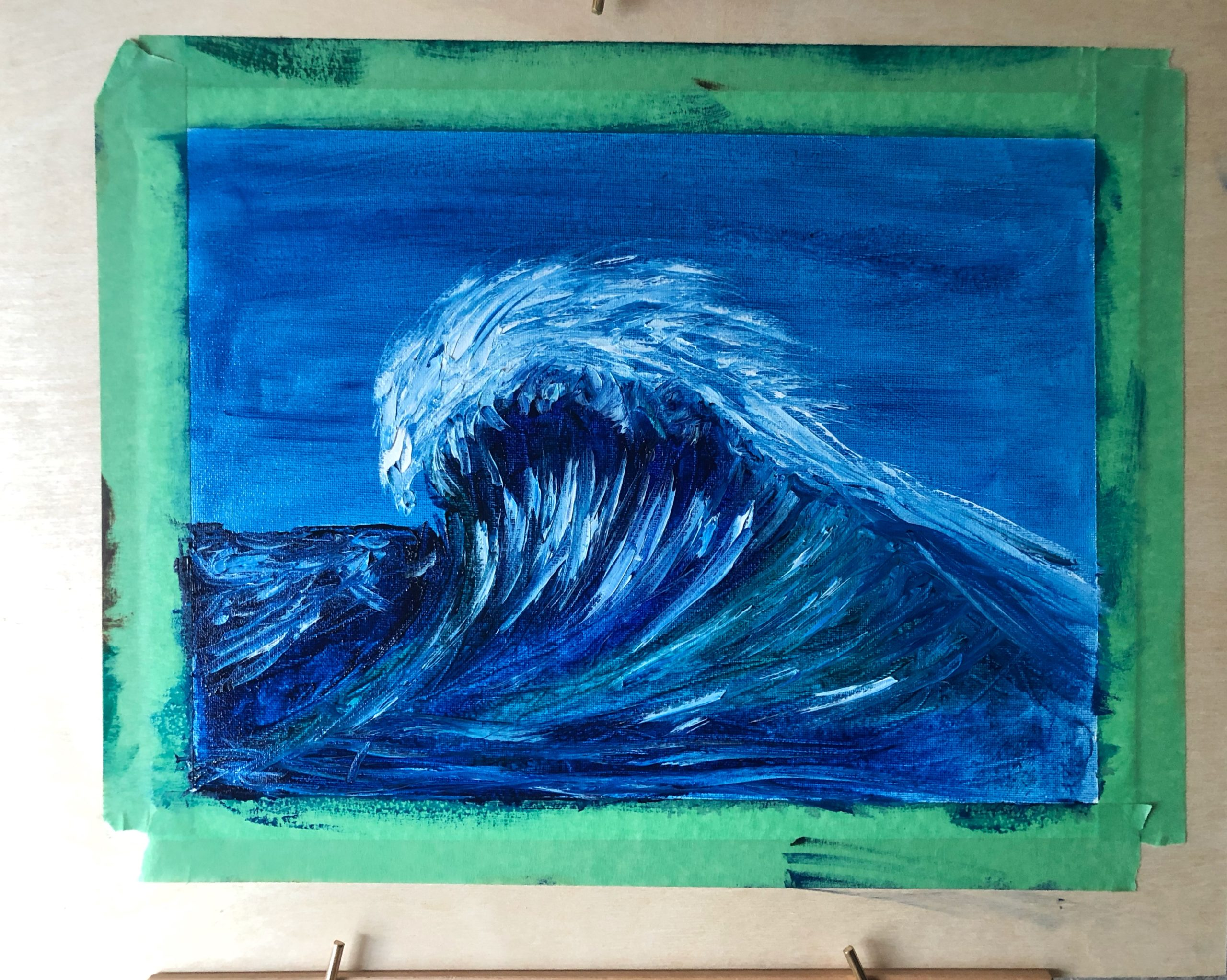 An oil painting of a wave
